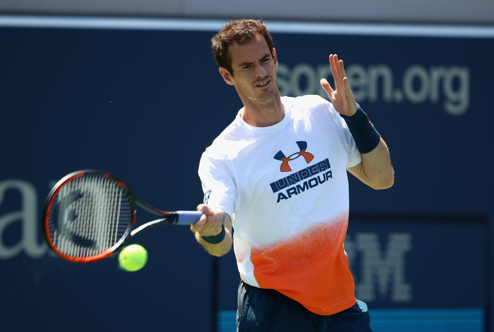 Andy Murray of Great Britain in action during a practice session prior to the U.S. Open Tennis Championships on August 26, 2017 in New York City. Murray has withdrawn from the tournament. (Clive Brunskill/Getty Images)