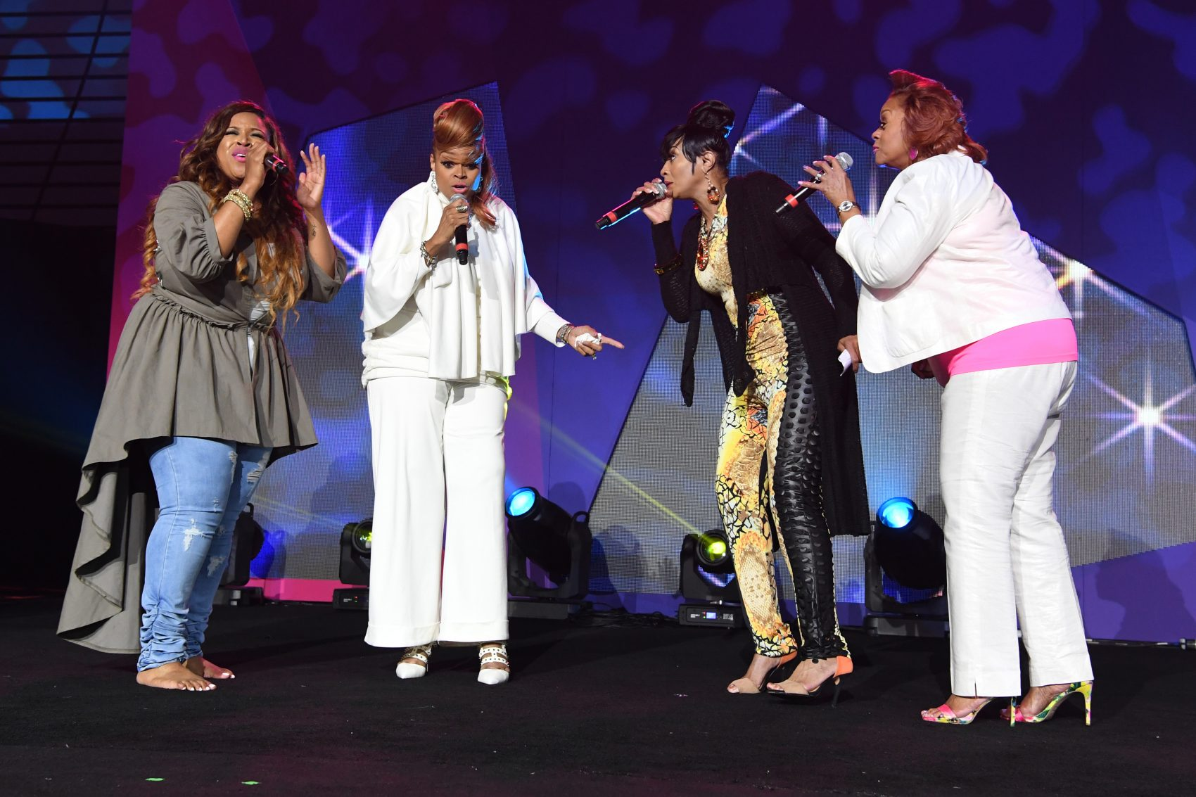 Kierra Sheard, Karen Clark Sheard, Dorinda Clark-Cole and Jacky Clark-Chisholm from The Clark Sisters perform onstage during the Tribute Finale at the 2016 Essence Festival Presented By Coca-Cola at Ernest N. Morial Convention Center on July 3, 2016 in New Orleans, La. (Paras Griffin/Getty Images for 2016 Essence Festival)