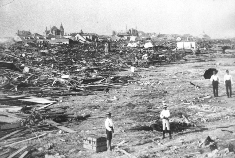 A large part of the city of Galveston, Texas, is reduced to rubble after being hit by a surprise hurricane Sept. 8, 1900. More than 6,000 people were killed and 10,000 left homeless from the storm, the worst natural disaster in U.S. history. (AP)