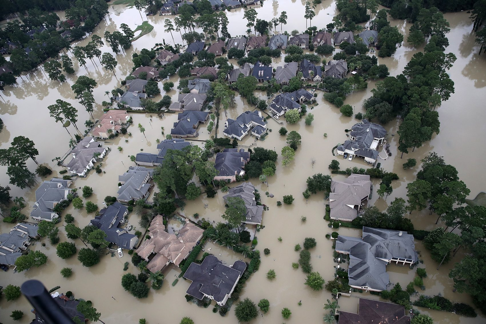 Flooded homes are shown near Lake Houston following Hurricane Harvey on Aug. 29, 2017, in Houston. (Win McNamee/Getty Images)