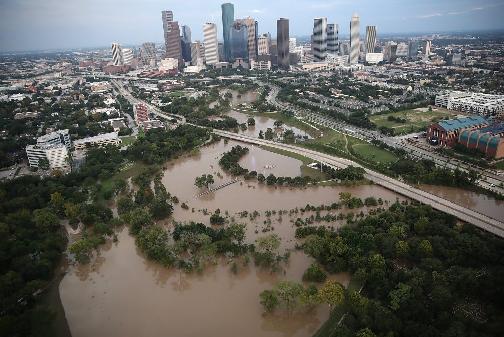 Flooding continues to be shown near downtown Houston following Hurricane Harvey on Aug. 30, 2017 in Houston. (Win McNamee/Getty Images)