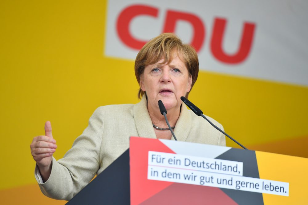 German Chancellor Angela Merkel addresses an election campaign rally of the Christian Democratic Union (CDU) in Ludwigshafen, western Germany, on Aug. 30, 2017. (Uwe Anspach/AFP/Getty Images)