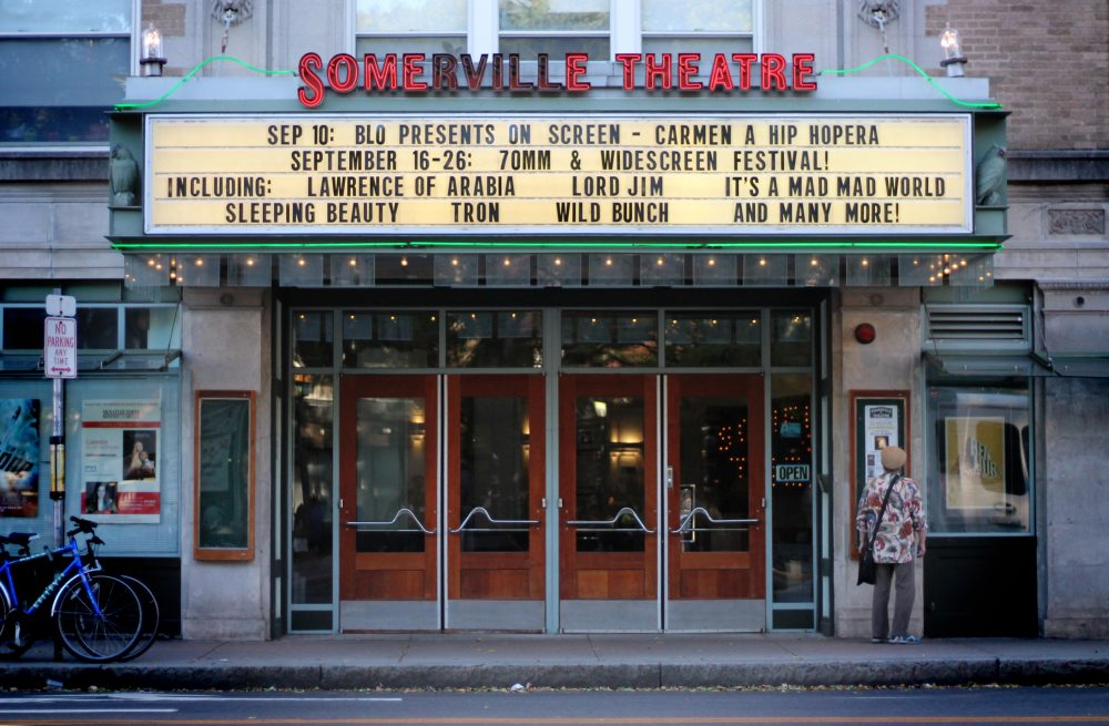 Somerville Theatre, shown here in 2016, has remained closed during the pandemic with a majority of employees opting to take a furlough to hopefully extend the life of the theater. (Amy Gorel/WBUR)