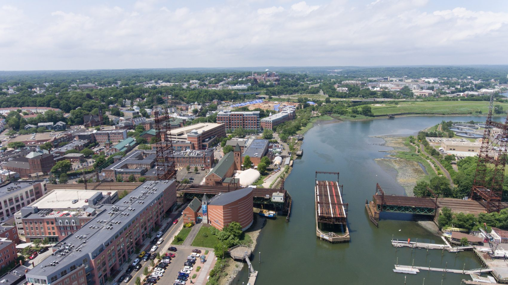 The Norwalk River Railroad Bridge is seen from above (Ryan Caron King/WNPR)
