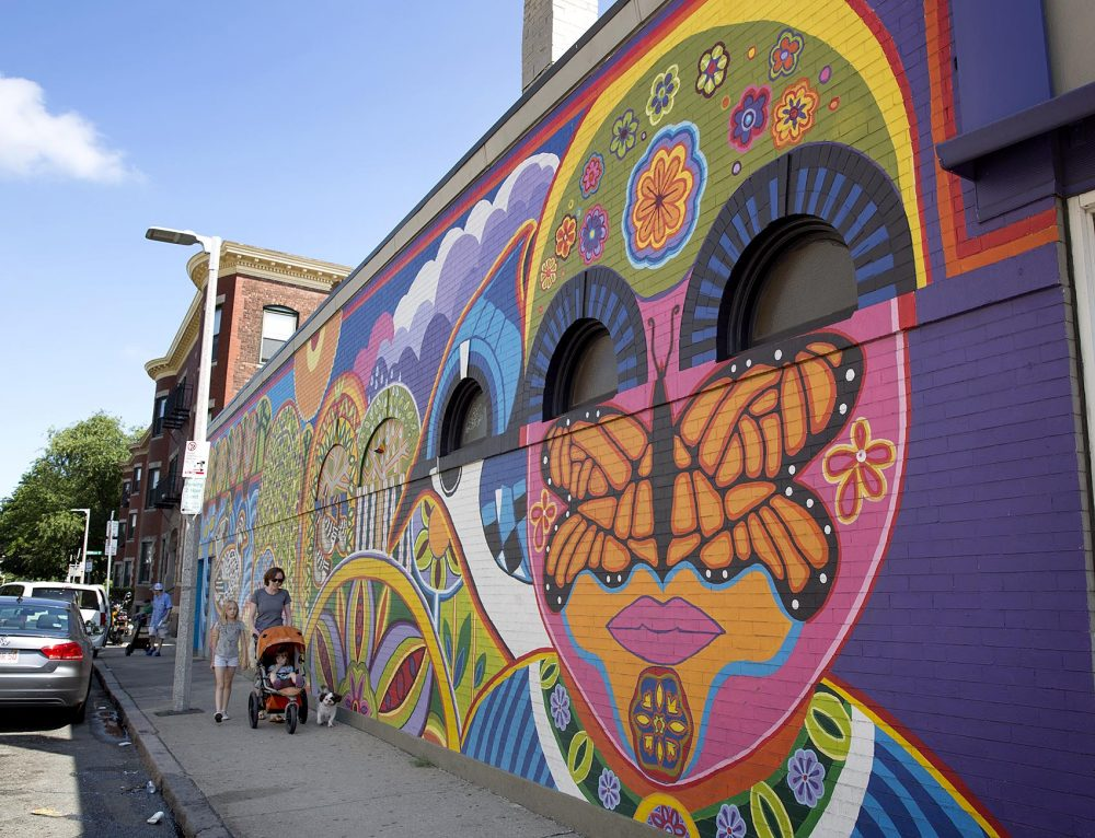 """Nieli'ka,"" on Centre Street in Jamaica Plain, was painted by the Mayor's Mural Crew in 2013. (Robin Lubbock/WBUR)"