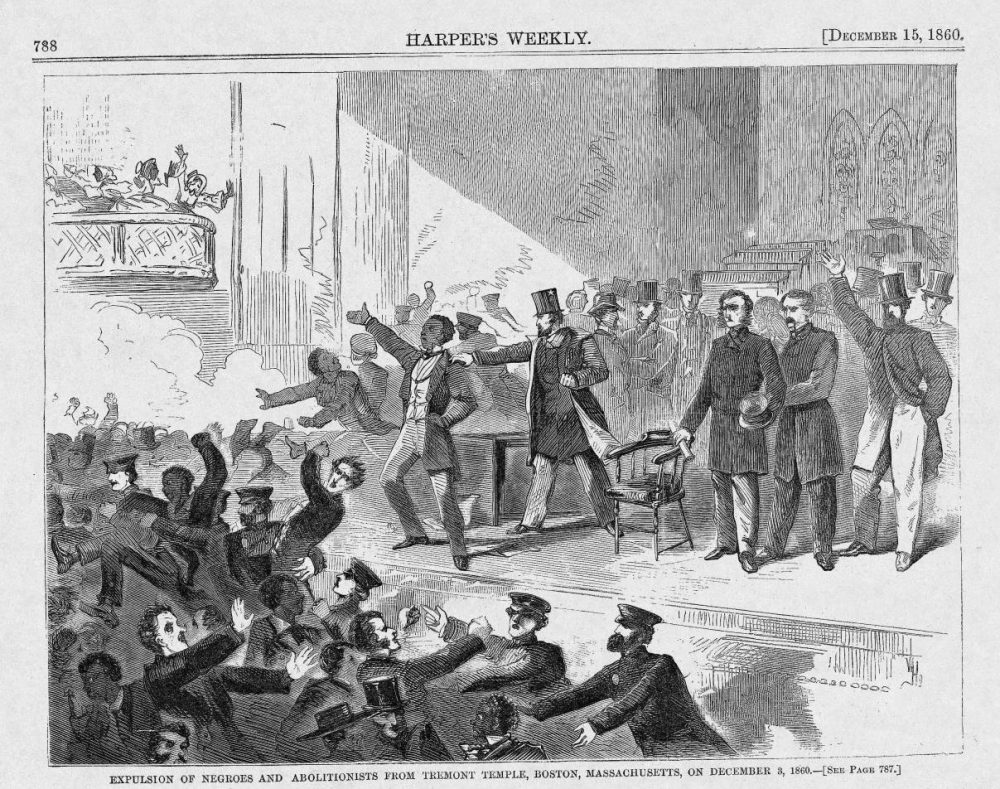 Mob silencing Frederick Douglass at Tremont in 1860. (Winslow Homer for Harper's Weekly/Courtesy John Stauffer)