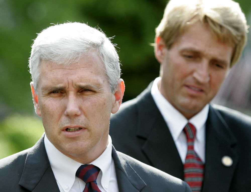 Representatives Mike Pence, R-Ind. and Jeff Flake, R-Ariz. speak with reporters outside the White House after meeting with President Bush, Wednesday, April 27, 2005, in Washington.  (Lawrence Jackson/AP)