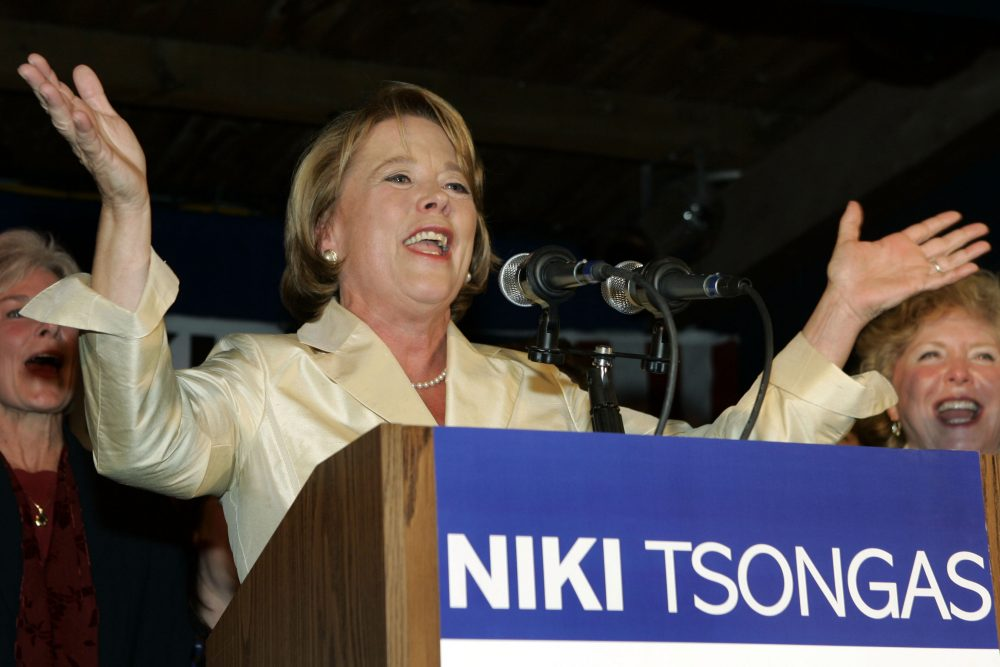 Democrat Niki Tsongas acknowledges the crowd at her election night party in Lowell, Mass. Oct. 16, 2007 as she claims victory in the 5th Congressional District special election to succeed former Rep. Martin Meehan. (AP Photo/Elise Amendola)