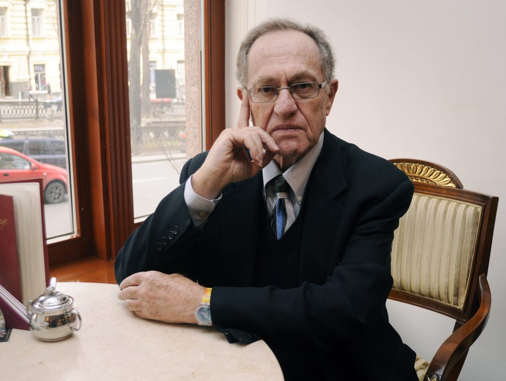Alan Dershowitz, a professor at Harvard Law School, poses for a picture at a hotel in Kiev, Ukraine, on April 11, 2011.  (Sergei Chuzavkov/AP)