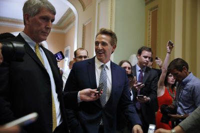 Sen. Jeff Flake R-Ariz., leaves a Republican meeting, Thursday, June 22, 2017, on Capitol Hill in Washington. (AP Photo/Jacquelyn Martin)