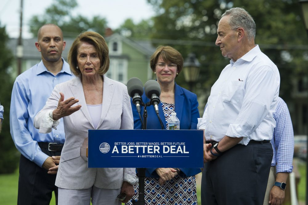 House Minority Leader Nancy Pelosi of Calif., accompanied by, from left, Rep. Hakeem Jeffries, D-N.Y., Sen. Amy Klobuchar, D-Minn. and Senate Minority Leader Chuck Schumer of N.Y. speaks in a park in Berryville, Va., Monday, July 24, 2017, where they unveiled the Democrats new agenda. (Cliff Owen/AP)