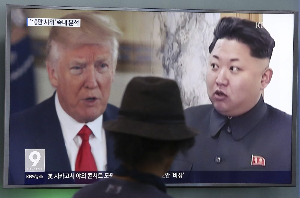 "A man watches a television screen showing President Donald Trump and North Korean leader Kim Jong Un during a news program at the Seoul Train Station in Seoul, South Korea, Thursday, Aug. 10, 2017. President Donald Trump issued a new threat to North Korea on Thursday, demanding that Kim Jong Un's government ""get their act together"" or face extraordinary trouble. He said his previous ""fire and fury"" warning to Pyongyang might have been too mild. (Ahn Young-joon/AP)"