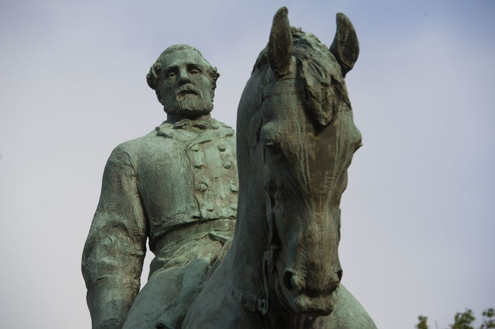 The statue of Confederate Army of Northern Virginia Gen. Robert E. Lee stands in Emancipation Park in Charlottesville, Va., Friday, Aug. 18, 2017. (Cliff Owen/AP)