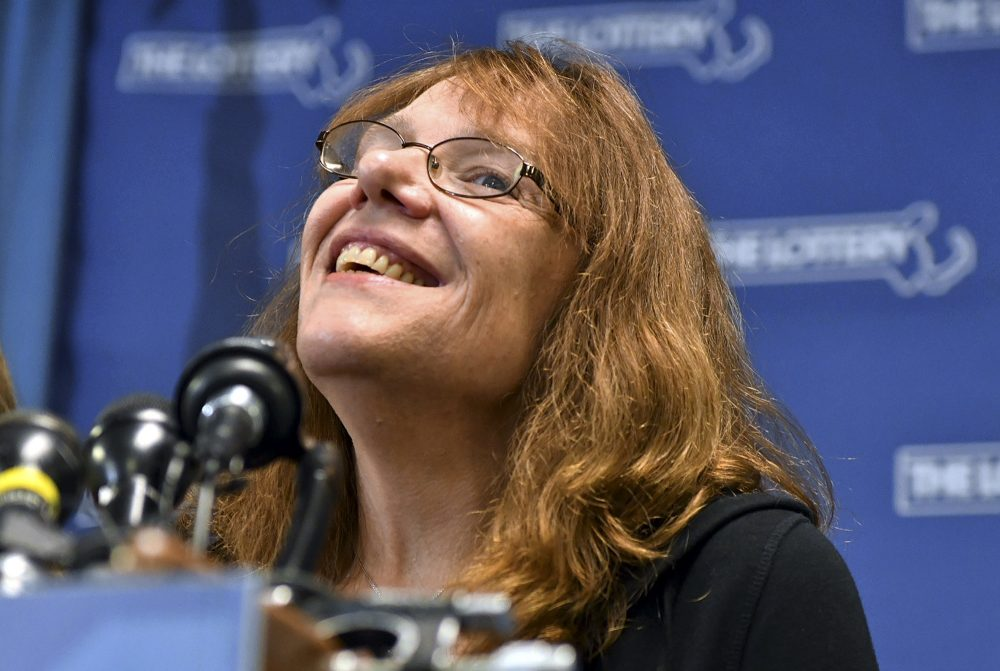 Mavis Wanczyk, of Chicopee, smiles during a news conference where she claimed the $758.7 million Powerball prize at Massachusetts State Lottery headquarters, Thursday. (Josh Reynolds/AP)