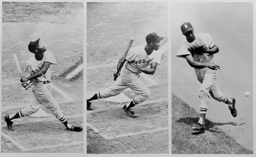 "In this July 22, 1959, file photo, Boston Red Sox's Elijah ""Pumpsie"" Green, making his first major league start for Red Sox, is pictured at bat and on the field in a baseball game against the Chicago White Sox in Chicago. (Harry L. Hall/AP)"