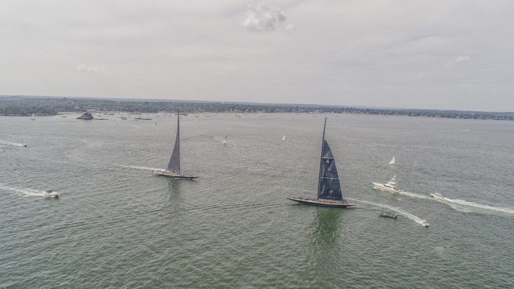 J Class boats sail during practice runs for the world championships. (Pearl Macek/RIPR)