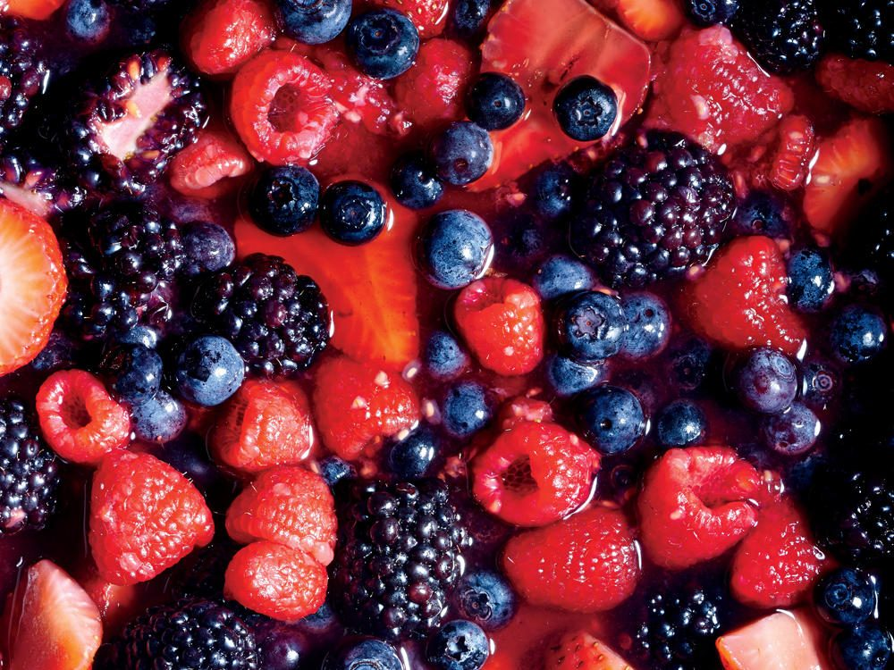 Macerating Berries: food styling: Rachel Johnson; prop styling: Lindsey Lower