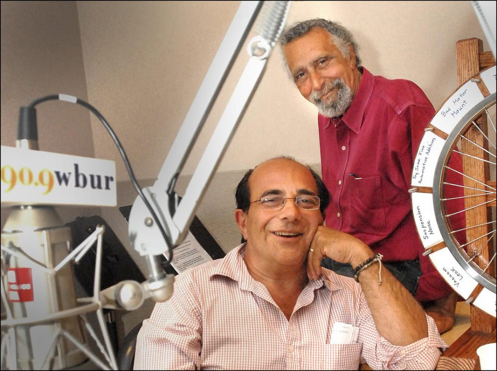Tom Magliozzi, behind, and Ray Magliozzi celebrate 20 years on the radio at the WBUR studios on June 13, 2007. (Ted Fitzgerald/WBUR)