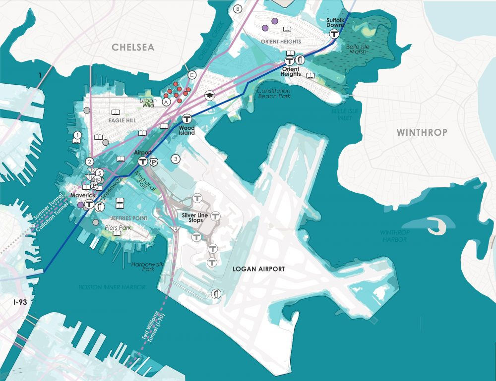 "Projected flooding of East Boston during a storm, at 36 inches of sea level rise (Courtesy of the city of Boston, from ""Climate Ready Boston"")"