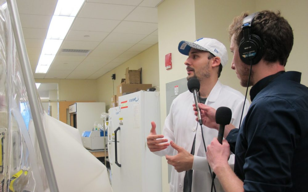 Jonathan Scheiman (left) is searching for bacteria that could improve athletic performance. (Alex Schroeder/Only A Game)