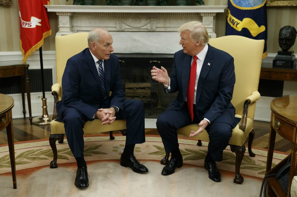 President Donald Trump talks with new White House Chief of Staff John Kelly after he was privately sworn in during a ceremony in the Oval Office with President Donald Trump, Monday, July 31, 2017, in Washington. (Evan Vucci/AP)