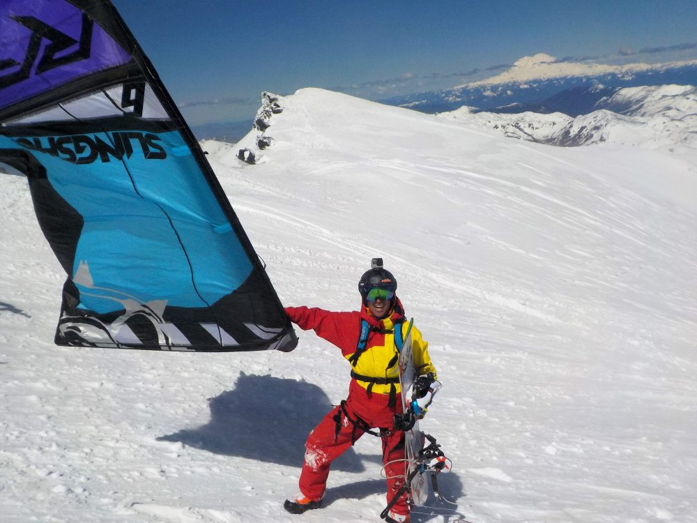 Fifteen years ago, Aaron Sales was one of the first to kiteboard over snow. Now he's taken the sport to a new height. (Brad Gordon)