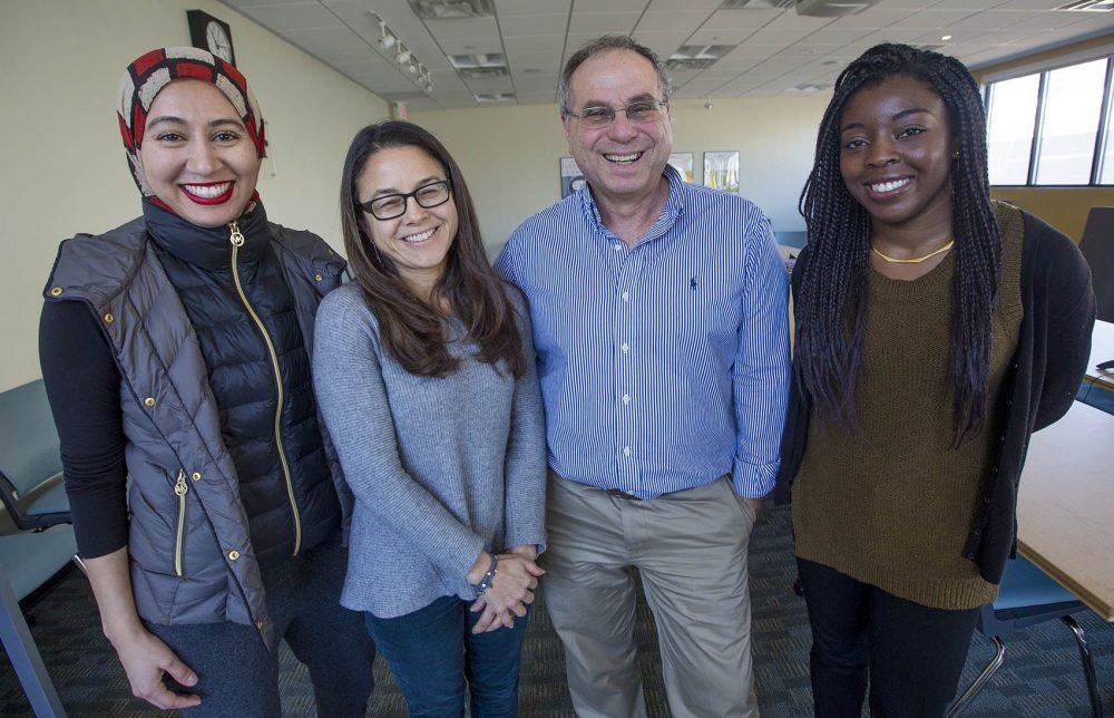 The Bostonomix team (l-r) Asma Khalid, Rachel Zimmerman, Bruce Gellerman and Zeninjor Enwemeka. (Jesse Costa/WBUR)
