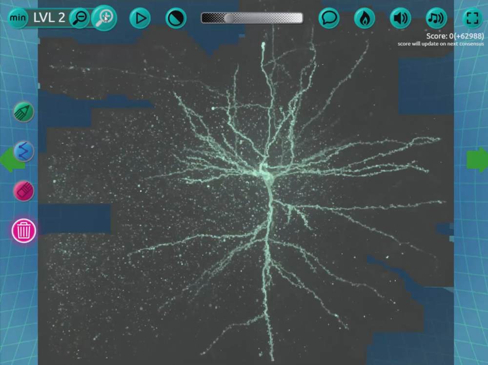"Call it ""citizen neuroscience,"" games like the new ""Mozak"" -- akin to a very challenging connect-the-dots as you trace a neuron -- let you contribute to brain science as you play. (Courtesy)"