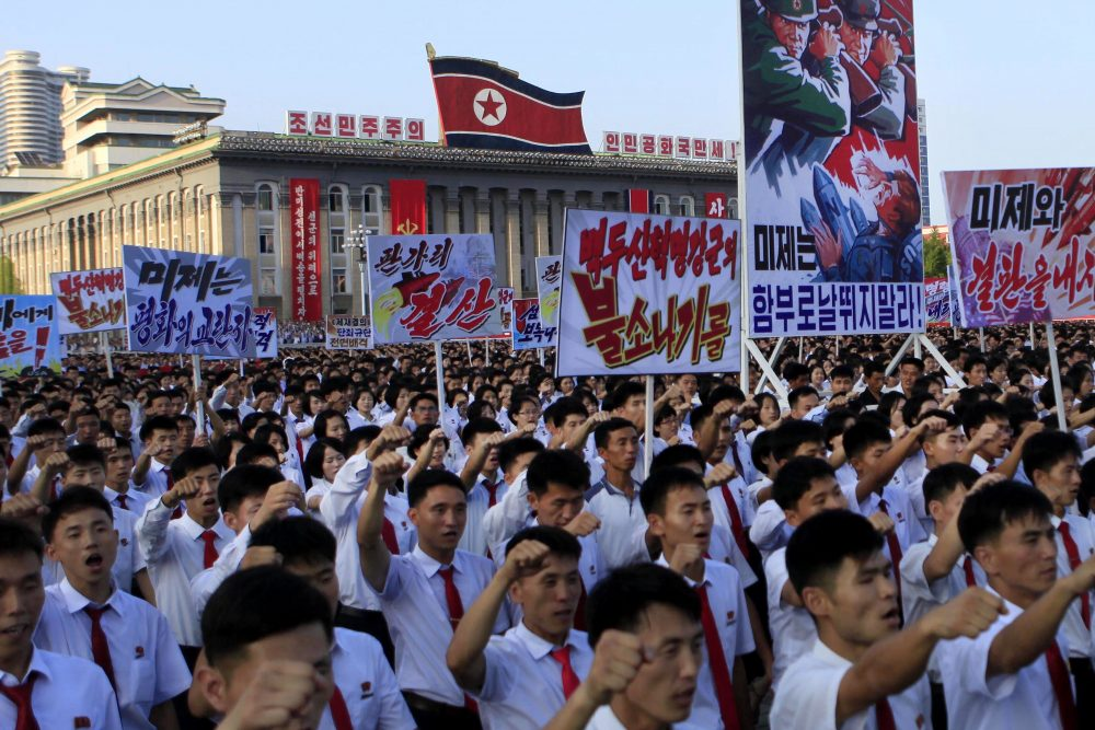 Tens of thousands of North Koreans gathered for a rally at Kim Il Sung Square as a show of support for their rejection of the United Nations' latest round of sanctions on Wednesday Aug. 9, in Pyongyang, North Korea. (Jon Chol Jin/AP)