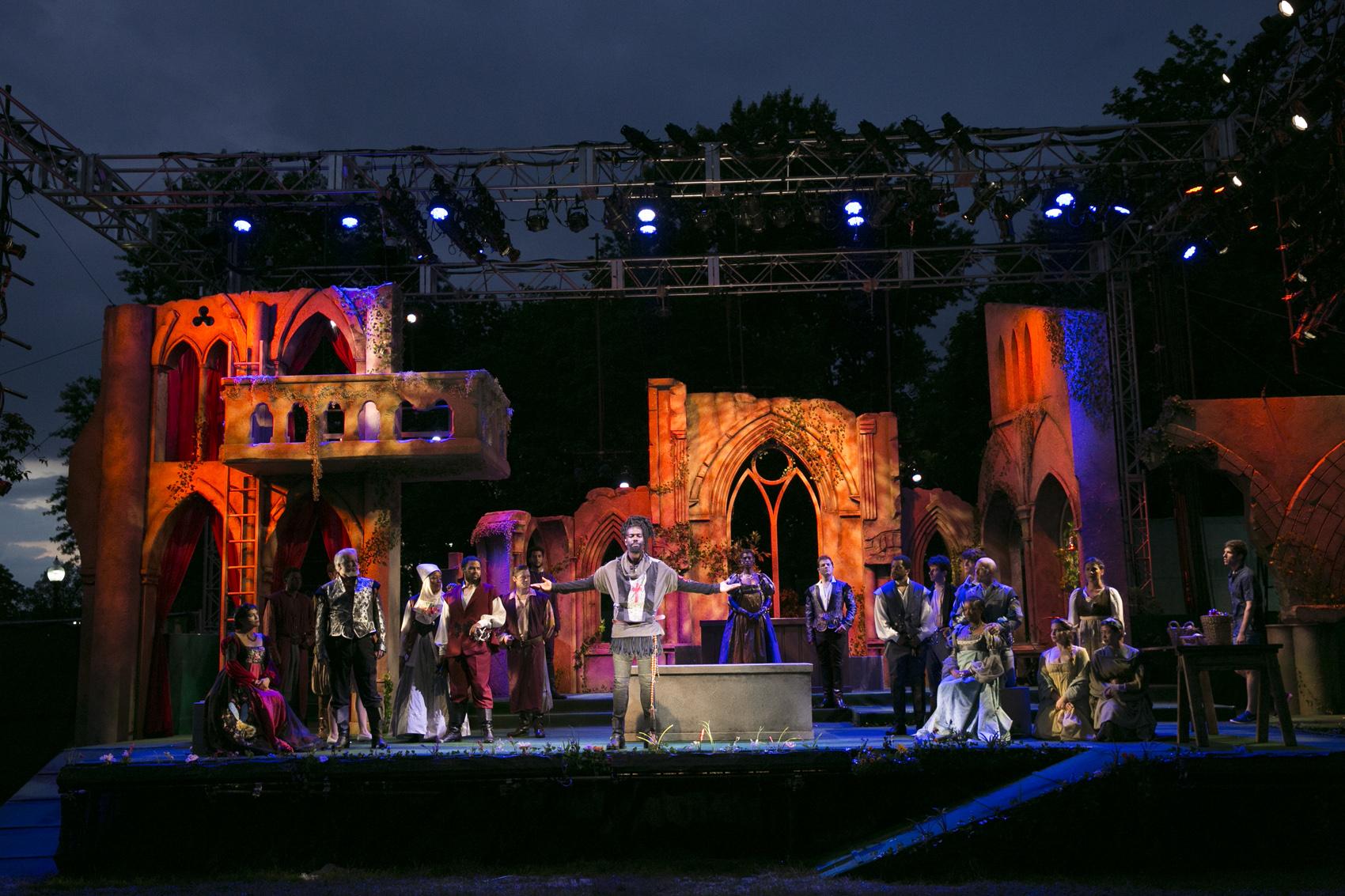 "The cast of Commonwealth Shakespeare Company's ""Romeo and Juliet"" (Courtesy Evgenia Eliseeva/CSC)"
