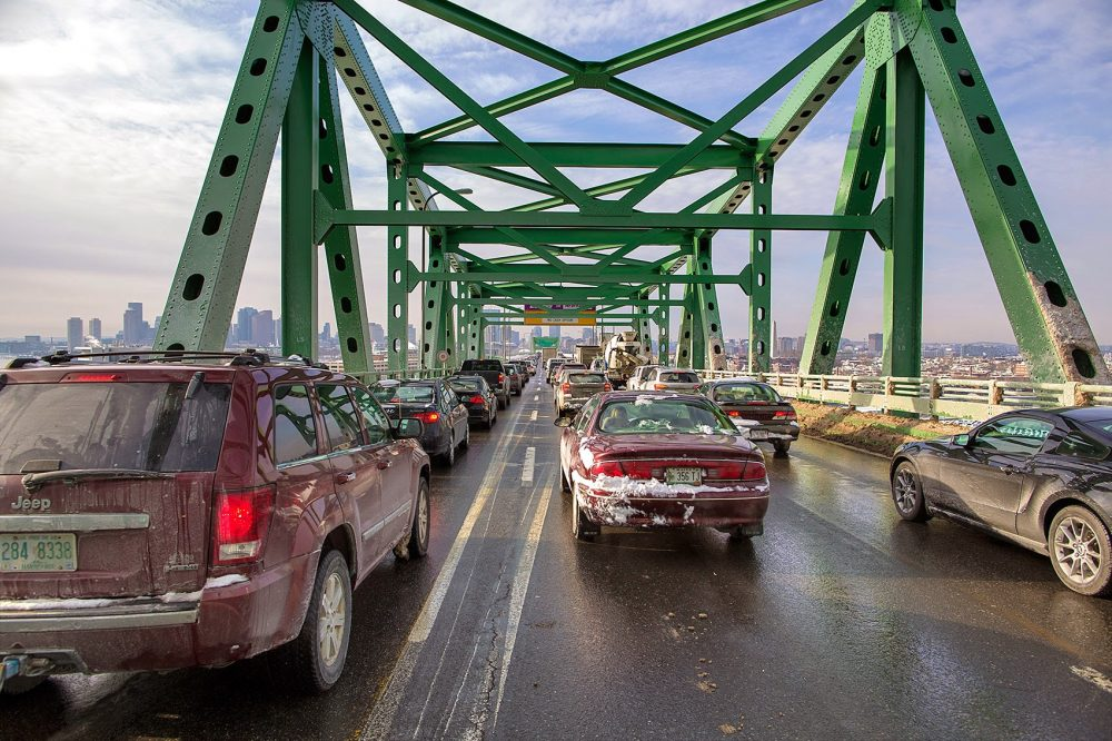 Traffic on the Tobin Bridge going into Boston in February 2015. (Jesse Costa/WBUR)