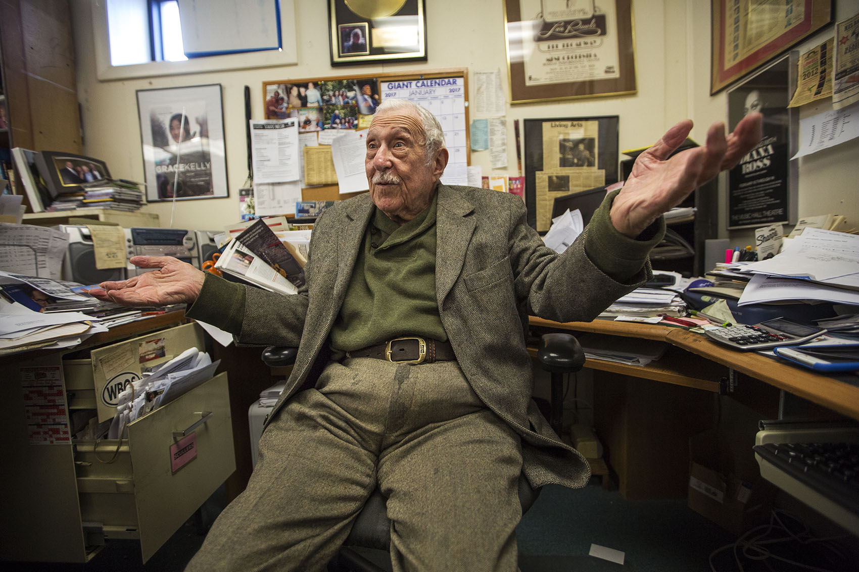 Fred Taylor in his office in Allston. (Jesse Costa/WBUR)