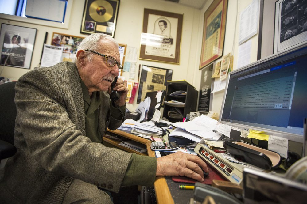 Fred Taylor in his office in Allston earlier this year. (Jesse Costa/WBUR)