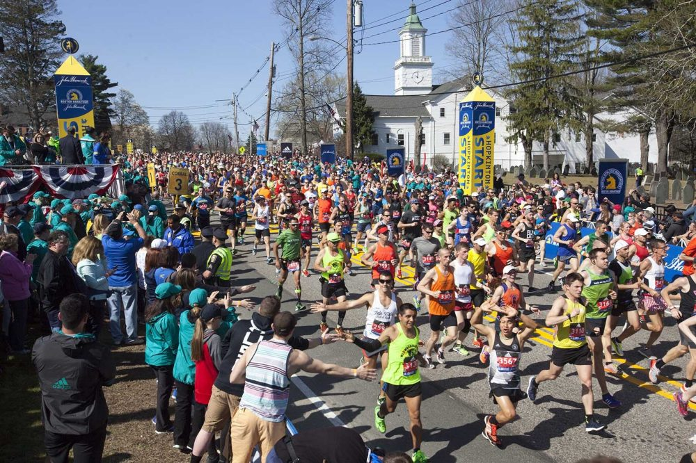 A recent study found Massachusetts to be the third least obese state with an adult obesity rate of just under 24 percent. --- Wave one of the general runners at the start to the Boston Marathon in Hopkinton, Massachusetts. (Joe Difazio for WBUR)