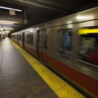 An MBTA red line train leaves Downtown Crossing station. (Jesse Costa/WBUR)