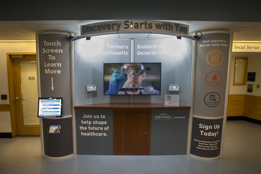 The Partners Biobank kiosk in the lobby of the Wang Building at Massachusetts General Hospital. (Jesse Costa/WBUR)