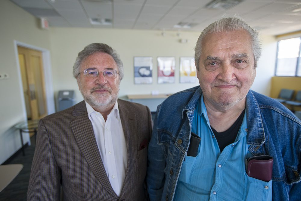Former DOC Deputy Commissioner Dave Daley, left, poses for a portrait with Bobby Dellelo, who spent 40 years in prison, five of them in solitary confinement. (Jesse Costa/WBUR)