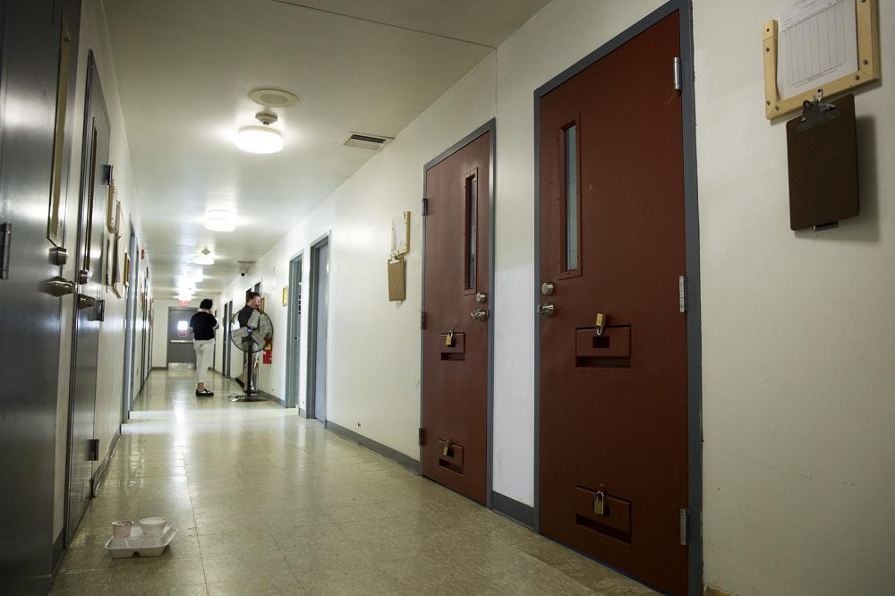 "If patients misbehave or if there are concerns, there are padlocked solitary ""watch cells"" to remove someone for a short time. (Robin Lubbock/WBUR)"