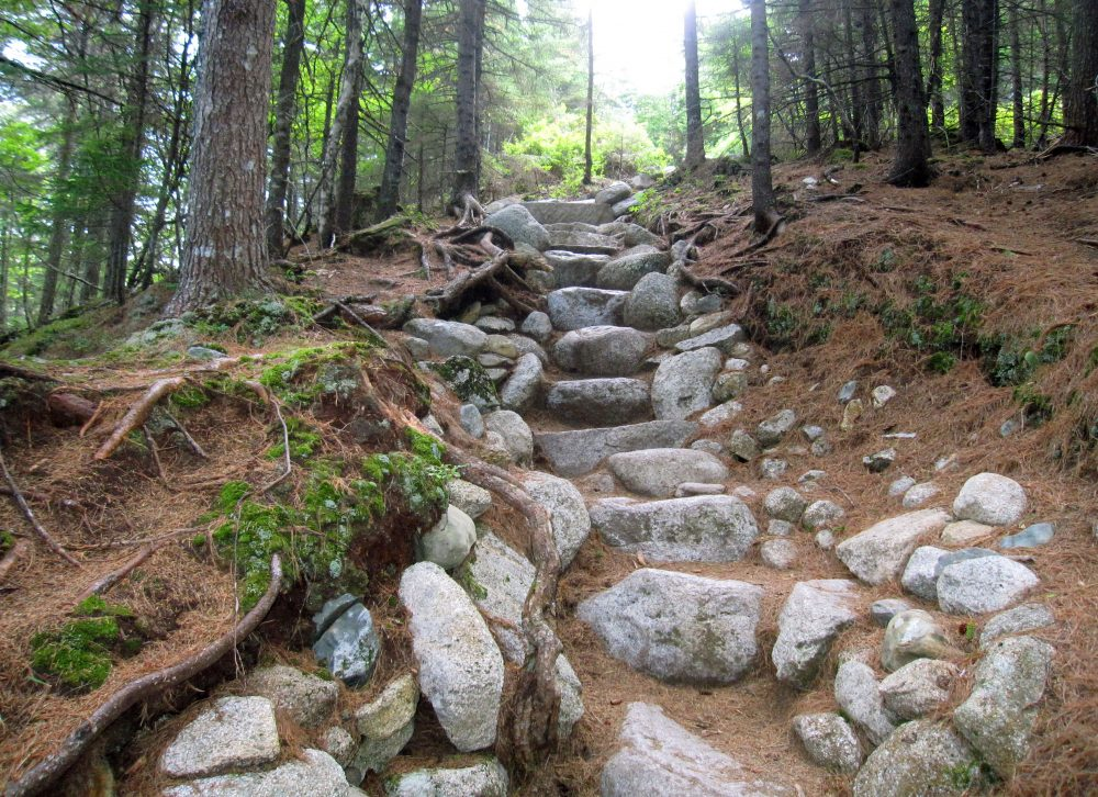 An early stretch of Hunt Trail, a 5.2-mile route up Mount Katahdin in Baxter State Park in Maine (Beth J. Harpaz/AP)