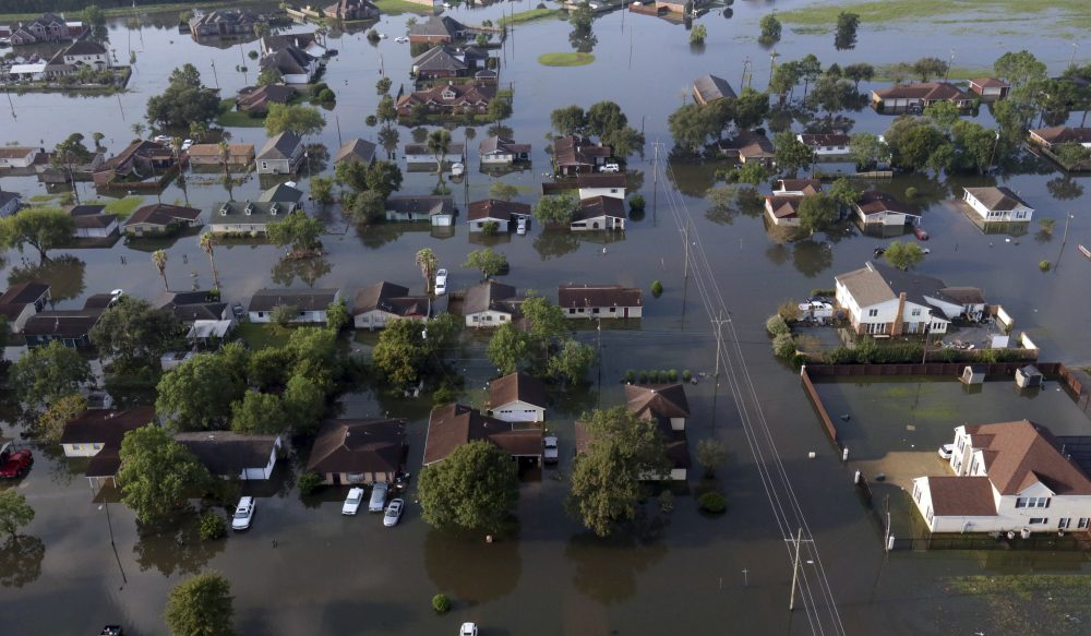 In this arial photo, homes sit in floodwaters caused Tropical Storm Harvey in Port Arthur, Texas, Friday, Sept. 1, 2017.  Port Arthur's major roads were swamped by rising waters brought by Harvey (AP Photo/LM Otero)
