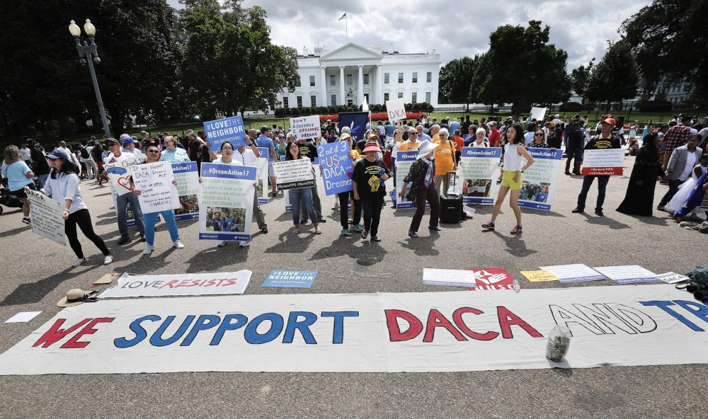 Supporters of Deferred Action for Childhood Arrivals program (DACA), demonstrate on Pennsylvania Avenue in front of the White House in Washington in 2017. (Pablo Martinez Monsivais/AP)