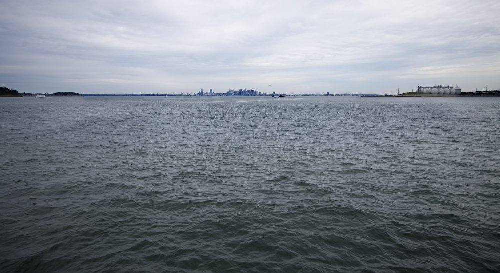 One proposed harbor barrier would stretch from Deer Island, right, to Quincy. (Jesse Costa/WBUR)