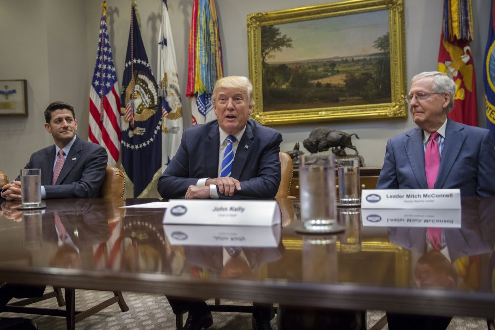 President Trump (center), with Speaker of the House Paul Ryan (left) and Senate Majority Leader Mitch McConnell, delivers remarks during a meeting with members of Congress and his administration regarding a tax overhaul, in the Roosevelt Room of the White House on Sept. 5, 2017 in Washington, D.C. (Shawn Thew-Pool/Getty Images)