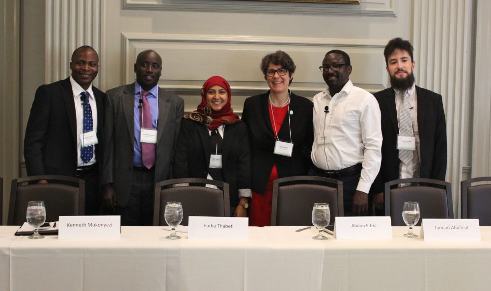 SIT Graduate Institute President Sophia Howlett (center right) stands with SIT's Global Scholars (left to right) Bahati Kanyamanza, Kenneth Mukonyezi, Fadia Thabet, Abdou Edris and Tama Abdulteaf. (Courtesy)