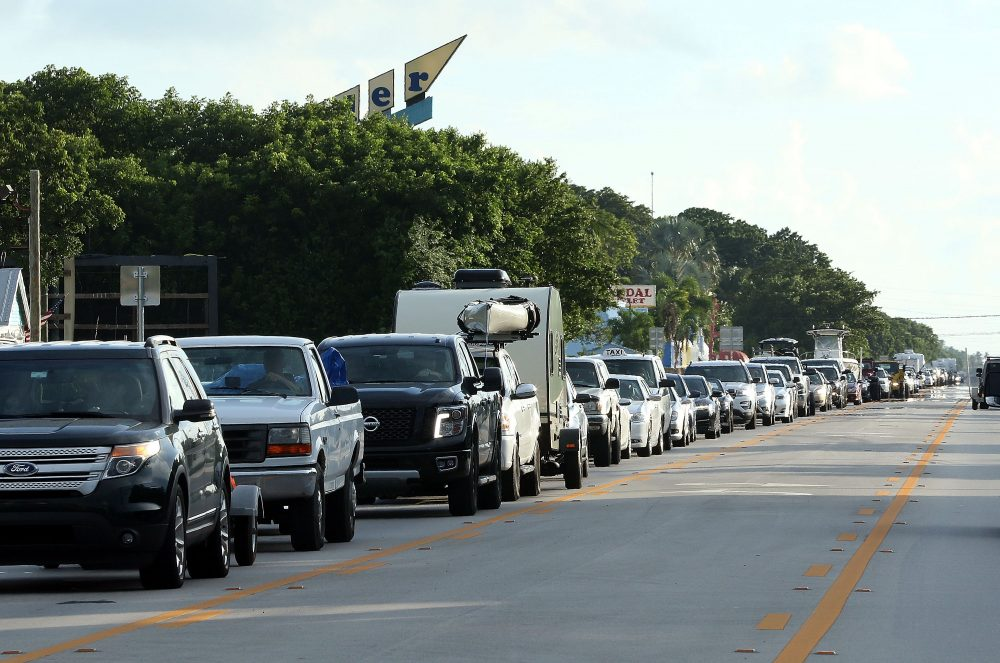 Cars sit in traffic as they evacuate heading North on Overseas Highway in the Florida Keys on Sept, 5, 2017 in Islamorada, Florida. Residents are evacuating ahead of Hurricane Irma, a powerful storm expected to make landfall this weekend. (Marc Serota/Getty Images)