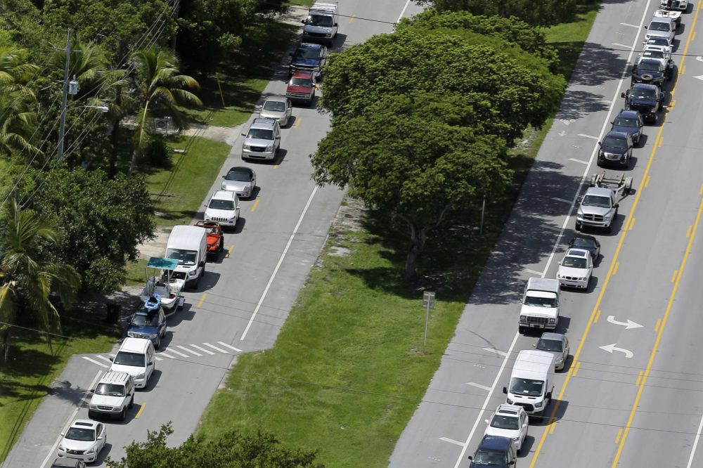 Motorists head north on U.S. Route 1, in Tavernier, Fla., Wednesday, Sept. 6, 2017. (Alan Diaz/AP)