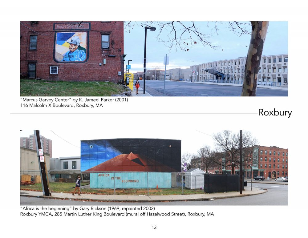 "The first page of the Roxbury section of ""Boston Murals"" highlights Jameel Parker's Marcus Garvey mural and Gary Rickson's painting ""Africa Is the Beginning."" (Courtesy Christine Verret)"