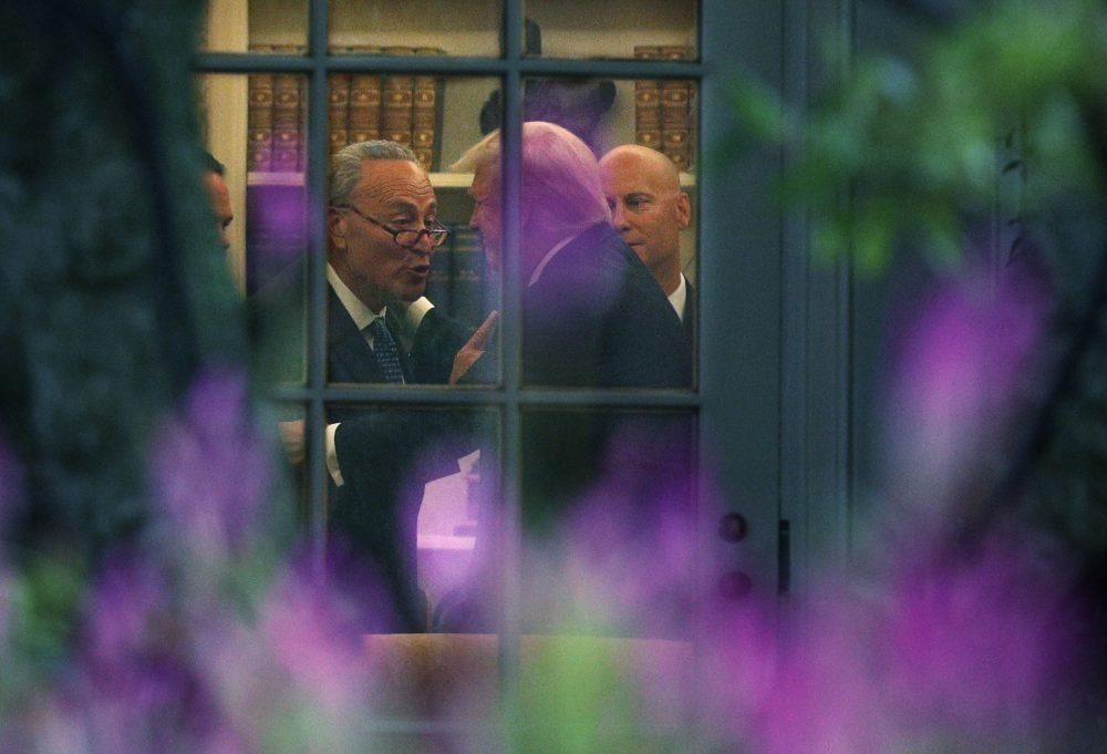 Senate Minority Leader Chuck Schumer (D-N.Y.) (left) makes a point to President Trump in the Oval Office prior to his departure from the White House on Sept. 6, 2017 in Washington, D.C. (Alex Wong/Getty Images)