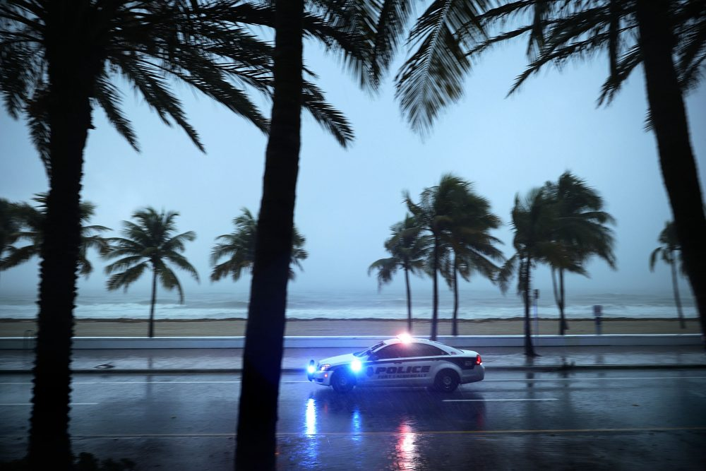 Police patrol the street running along Sebastian Street Beach ahead of the arrival of Hurricane Irma Sept. 9, 2017 in Fort Lauderdale, Fla. (Chip Somodevilla/Getty Images)