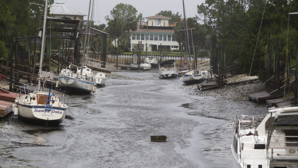 Boats sit on the bottom in the north Florida panhandle community of Shell Point Beach as Irma pulls the water out Sept. 11, 2017 in Crawfordville, Fla. (Mark Wallheiser/Getty Images)